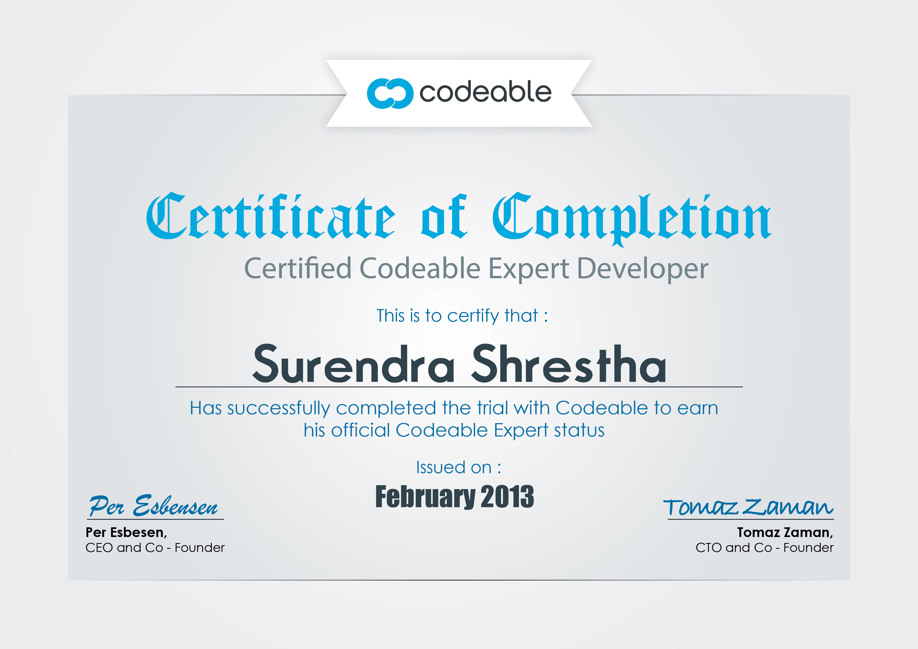 Certified Codeable Expert Developer: Surendra